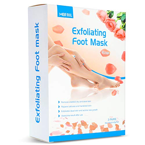 3 Pairs Foot Peel Mask Exfoliating for Callus Remover Cracked Heels, Dead Skin,Rose Scented