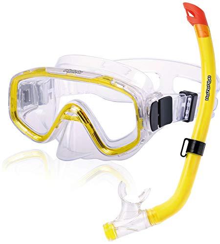 AQUAZON FUN Equipo de esnórquel de alta calidad, equipo de buceo, equipo de natación, esnórquel con parte superior semi seca para niños de 3 a 7 años., color:gelb transparent