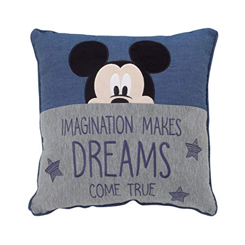 Disney Mickey Mouse Hello World - Navy, Grey & White Appliqued Decorative Pillow, Navy, Grey, White, Black