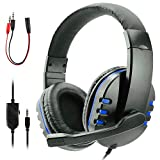 Zeion Gaming Headset Headphone with Microphone for PS4, PS5, Nintendo Switch, Playstation 4, Playstation 5, Playstation Vita, Mac, Laptop, Tablet, Computer, Mobile Phones (3.5mm Plug Blue)