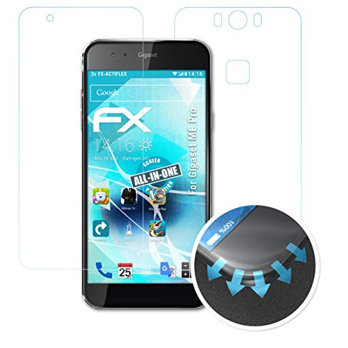 atFolix Schutzfolie kompatibel mit Gigaset ME Pro Folie, ultraklare & Flexible FX Bildschirmschutzfolie (3er Set)