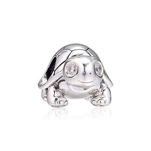 LILANG Pandora 925 Pulsera de joyería de Plata de Ley Genuina Natural encantos de Tortuga de Ojos Brillantes se Adapta a Cuentas para Berloques Abalorios Mujeres Regalo DIY