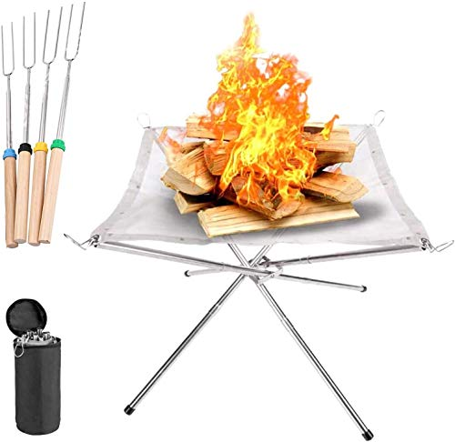 VBARV Portable Fire Pit Outdoor, 16.5 Inch Camping Fire Pit Foldable, Steel Mesh Fire Pits Fireplace, with 4 Wooden Handle Forks, for Patio, Backyard and Garden