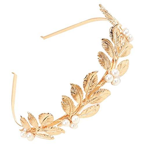Élégant Gold Beads Leaves Hair Band Accessoires cheveux Bandeau Coiffe