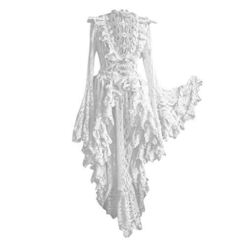 LoveLeiter Damen Schwarz Korsagen Gothic Taille Lang Bluse Mini Korsett kurz Party Steampunk Langarm Mittelalter Unregelmäßig Kleid Gothic Retro Kleid Renaissance Cosplay Kostüm Maxikleid