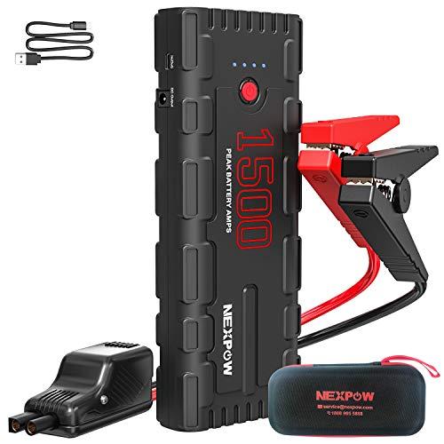 NEXPOW 1500A Peak 21800mAh Arrancador de Coches, Arrancador de Baterias de Coche para 6.5L de Gasolina o 4L de Diesel, con Cable USB QC 3.0 y Linterna LED