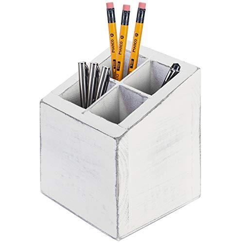 MyGift Vintage White Wood 4 Slot Pen Pencil Holder, Square Desktop Office Supply Storage Box