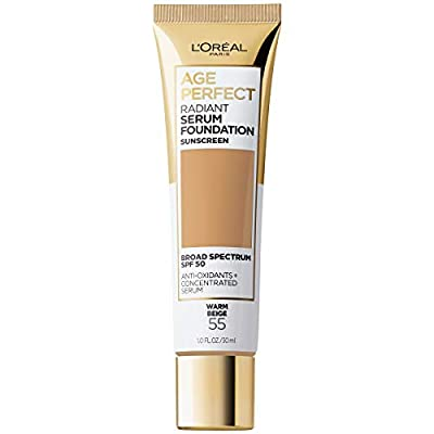 L'Oreal Paris Age Perfect Radiant Serum Foundation with SPF 50, Warm Beige, 1 Ounce