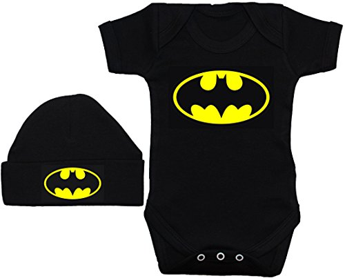Body Bat bébé/Barboteuse/Gilet/T-Shirt & Beenie Hat Set Batman - 3-6 Mois - Noir