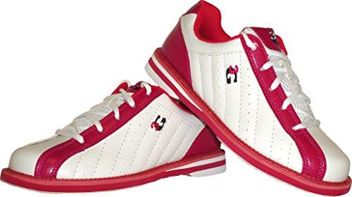3G 900 Global Bowling-Schuhe, 3G Kicks, Damen und Herren, für Rechts- und Linkshänder in 7 Farben Schuhgröße 41 EU (weiß-pink)