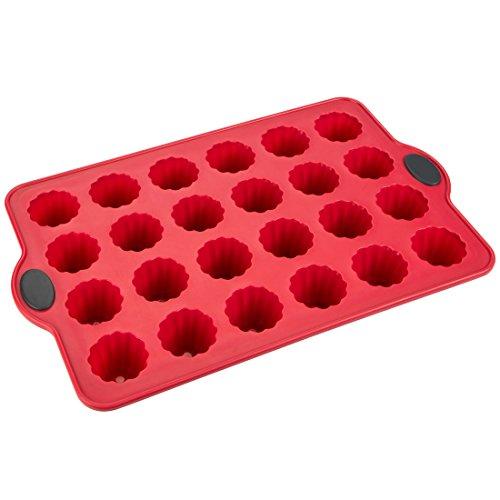 Levivo 331800000040 Moule à pâtisserie en silicone pour 24cannelés/mini muffins/cupcakes, Rouge, 34,5 cm