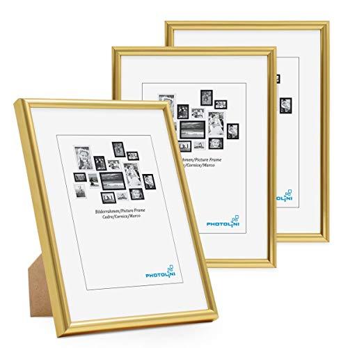 PHOTOLINI Bilderrahmen 3er Set 13x18 cm Modern Gold Kunststoff-Rahmen Schmal mit Glasscheibe und Zubehör