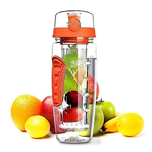 1000ml bouteille d'eau gourd fruit brasseur sport bouteille vélo bouteille eau tasse de jus de jus d'eau avec une couverture d'étanchéité en silicone à la fuite convient aux activités de en plein air
