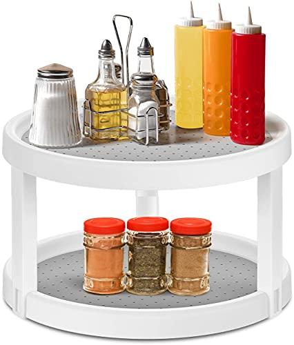Delgeo Especiero Giratorio con Dos Pisos, Especiero de Cocina para Tarros de Especias, Botellas, Estante de Especias de Plástico Multifunción - Blanco