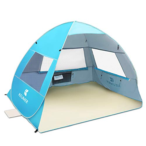 Large Pop Up Beach Tent SGODDE 2019 New Anti UV Sun Shelter Tents Portable Automatic Baby Beach Tent Instant Easy Outdoor Cabana for 3-4 Persons for Family Adults