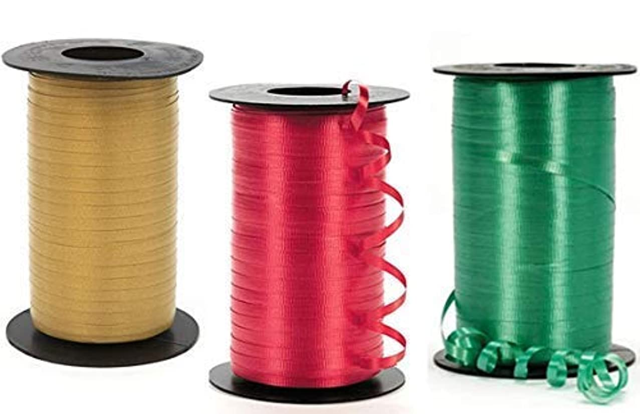 Christmas Curling Ribbon, Red, Emerald, and Gold Curling Ribbon. 350 Yards of Each Color!