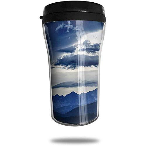 Blue Mountains Summit Wolken Reizen Koffie Mok Gedrukt Draagbare Vacuüm Beker, Geïsoleerde Thee Cup Waterfles Tumblers voor Drinken