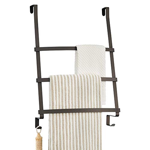 mDesign Modern Decorative Metal Over Shower Door Towel Rack Holder Organizer with Storage Hooks - for Bathroom Towels, Washcloths, Hand Towels, Loofahs and Sponges - Bronze