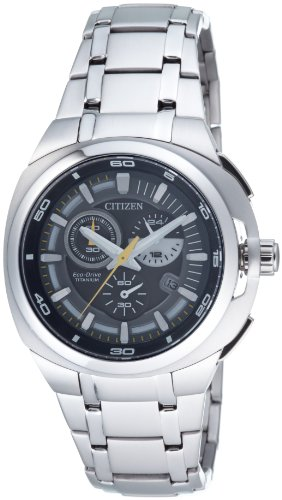 Citizen Marinaut AT2021-54H - Reloj cronógrafo de Cuarzo para Hombre, Correa de Titanio Color Plateado