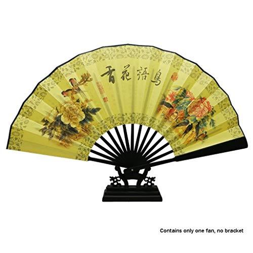 LEZDPP Ventilador de la artesanía de los Hombres de Ventilador Plegable Chino al por Mayor de Caoba imitación Hueso Seda Fan Fan Punto Masculino Estilo Antiguo (Color : D)