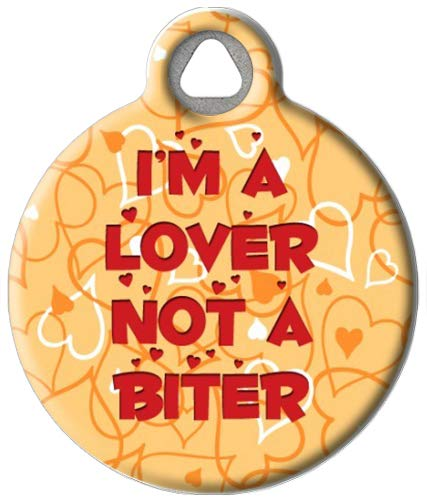 Dog Tag Art Custom Pet ID Tag for Dogs - I'm a Lover - Large - 1.25 inch
