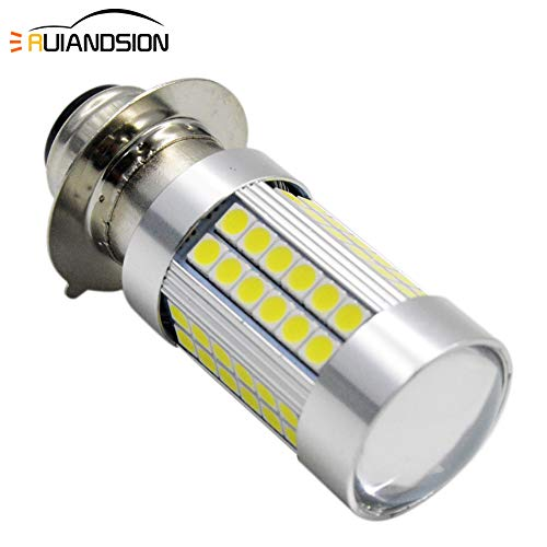 H6M LED Motorcycle Headlight Bulb DC 6V Ruiandsion P15D LED Bulb Extremely Bright 3030 66SMD Chipsets White 6000K with High Low Beam