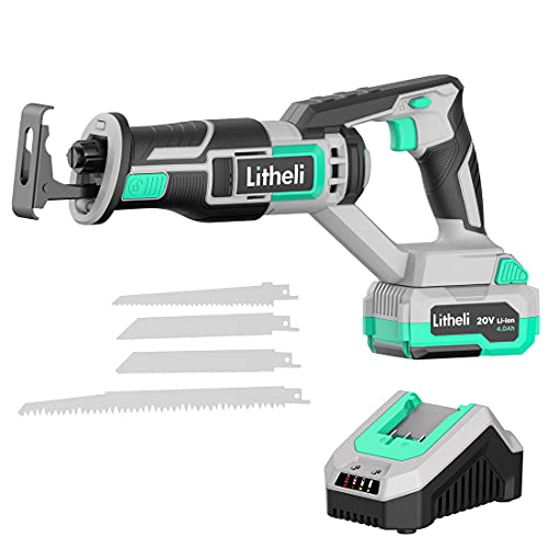 Litheli 20V Cordless Reciprocating Saw, Electric Reciprocating Saw, Variable Speed Trigger Sawzall, Tool-free Blade Change, 4 Blades with 4.0 Ah Battery & Charger