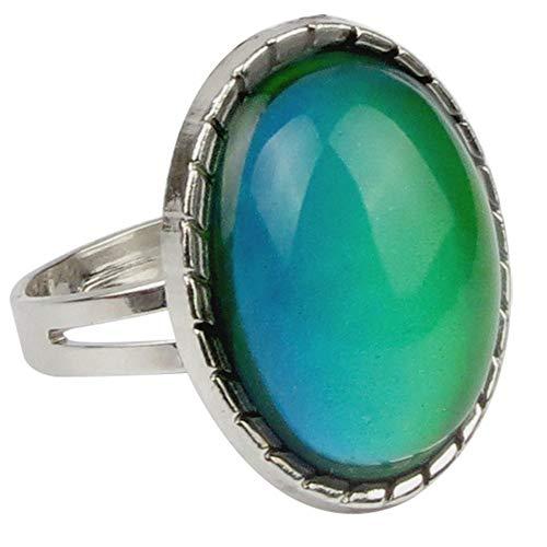Adjustable Color Changing Mood Ring Inspirational Mystique Marble (Oval Shape, Adjustable)