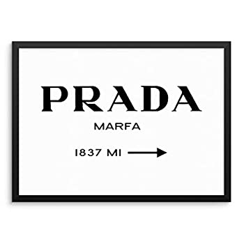 Fashion Road Miles Sign Trendy Wall Poster Chic Designer Couture Art Print 11x14 UNFRAMED Modern Minimalist Artwork for Bedroom Living Room or Home Office  11 x14  MARFA SIGN