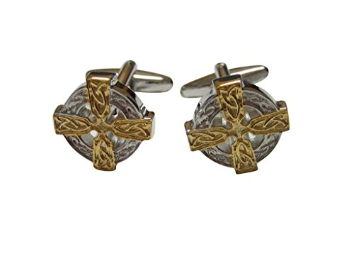 Gold and Silver Toned Celtic Design Cufflinks