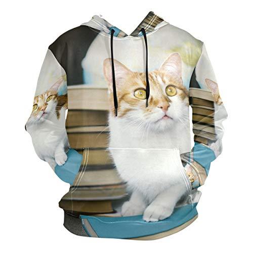 XiangHeFu Herren Hoodies Sweatshirt Katze und Buch Langarm Pullover