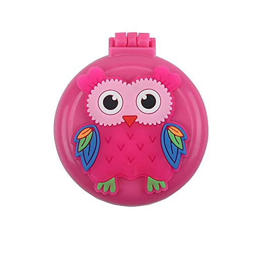 Folding Hair Brush Folding Combs - Miss Hsu Mini Travel Hair Brush for Kids Girls Pocket Hairbrushes with Makeup Mirror Kids Comb with Cute Doll Pattern 1Pcs (Pink Owl)