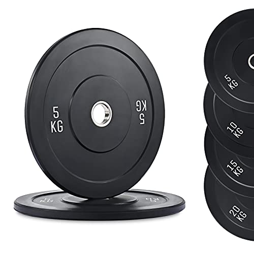 ZELUS Juego de 2 Discos de Pesas 5KG con Orficio de 50mm Discos Olimpicos para Pesas con Insertos de Acero Inoxidable Disco de Peso para Entrenamiento de Fuerza (5KG)