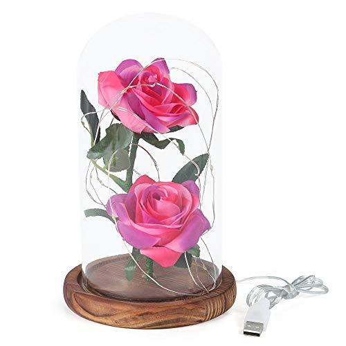 2 rosas rosas encantadas, cubierta de cristal con luz LED para siempre, base de madera maciza, da un feliz cumpleaños a las niñas, mujeres, día de la madre, día de San Valentín, aniversario.