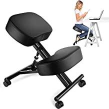 Ergonomic Kneeling Chair, Adjustable Stool for Home and Office - Improve Your Posture with an Angled Seat - Thick Comfortable Moulded Foam Cushions - Brake Casters