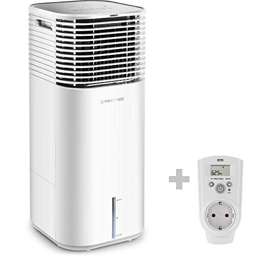 TROTEC PAE 49 Aircooler 4-in-1 Mobile Klimaanlage Luftkühler Luftreiniger Ventilator Luftbefeuchter 20 L Tank 4 Gebläsestufen Ionisator weiß inkl. Hygrostat BH30