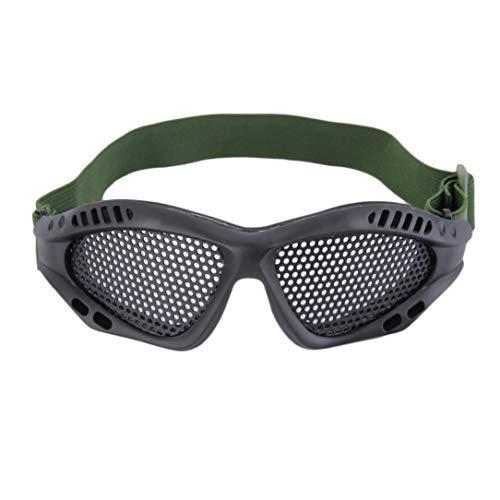 Dengc Taktische Schutzbrille Augenschutzbrille für den Außenbereich Metallgitter CS-Spiele Airsoft-Sicherheitsschutz mit elastisch verstellbarem Band/Schwarz