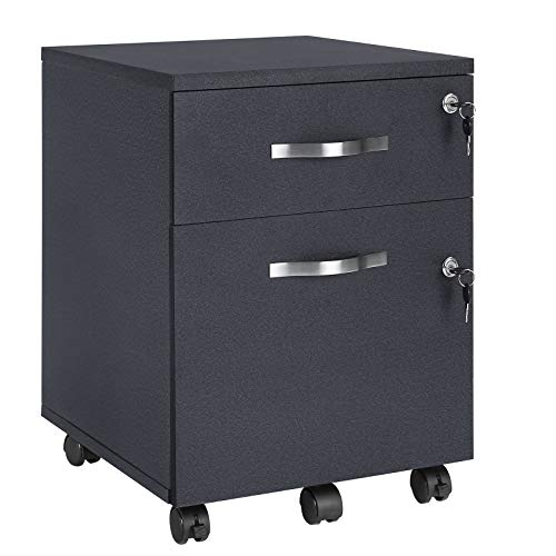VASAGLE Rollcontainer, abschließbar, Aktenschrank mit 2 Schubladen, 5 Rollen und Verstellbarer Hängeregistratur, für Dokumente im A4- und Letter-Format, Home Office, schwarz LCD22BV1