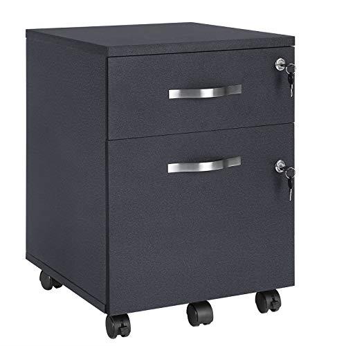 VASAGLE Rollcontainer, abschließbar, Aktenschrank mit 2 Schubladen, 5 Rollen und verstellbarer...