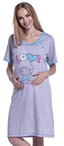 Happy Mama. para Mujer Camisón Estampado Premamá de Embarazo y Lactancia. 141p