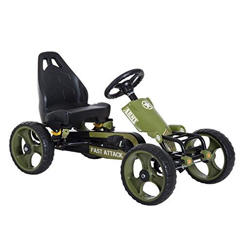 HOMCOM Kids Children Pedal Go Kart Ride On Racer Braking System Adjsuatble Seat Green