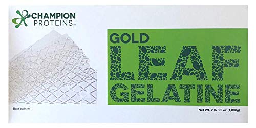 Gold Leaf Gelatin Sheets, 500 Sheets, 200 Bloom, Champion Leaf Gelatine, 1/KG (2.2/Lbs)