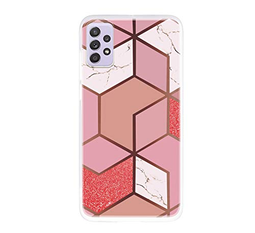 ChoosEU Compatible con Funda Samsung Galaxy A72 5G / 4G Silicona TPU Case Antigolpes Bumper Cover Caso Protección, Dibujos Mármol Creativa Carcasas para Chicas Mujer Hombre - Naranja Rosa
