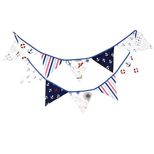 G2PLUS 3M banderines,Guirnalda de banderines con 12 banderines,para dormitorio de fiesta de cumpleaños o decoración de bodas(Azul)