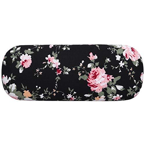 Fltaheroo Funda rígida para gafas de mujer, diseño floral, color negro