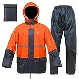 Rain Suits for Men Women Waterproof Lightweight Rain Gear Jacket Coat with Pants Workwear (X-Large, Orange/Grey)