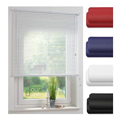 ourdeco® Jalousie aus PVC / 140 x 160 cm (Breite x Höhe) / Farbe weiß/lichtdurchlässig bis Blickdicht/Einfache Montage an Wand oder Decke