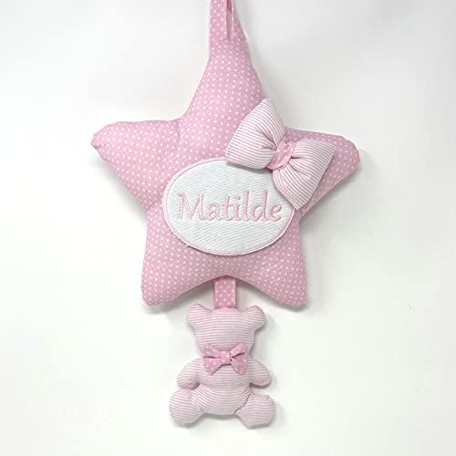 Fiocco nascita bimba o bimbo delicato con colori tenui a forma di stella con orsetto Con nome personalizzato ricamato. Coccarde per nascita con nome ricamato - Pri Frog Fatto a mano