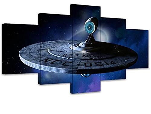 COCOCI 5 Panneaux Muraux Impression sur Toile 5 Parties Science Fiction Movie Star Trek Toile Murale Tableau Peinture Huile sur Toile pour DéCoration De Maison Decoration Salon