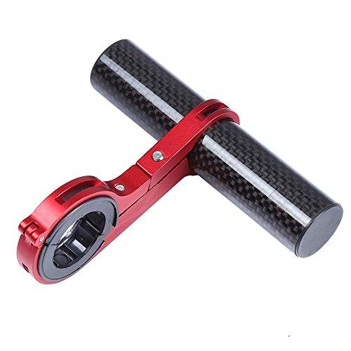 NiceButy - Supporto per lampada tascabile estendibile, supporto per manubrio in fibra di carbonio, per bicicletta MTB, colore: Rosso